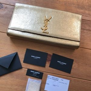 YSL Cassandre Gold Metallic Clutch